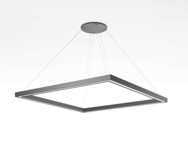 A suspended geometric pendant luminaire synthesized with the modern minimalism of Profile Mini. Frame offers maximum design flexibility, delivering quality light with a comfortable visual experience for a myriad of architectural applications.  Shown here in the Frame Square option with black powdercoat finish.
