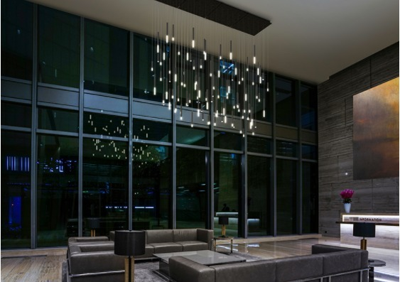 Theses steelos light guides designed by Blackjack lighting helps gives this lobby room an elegant feel.