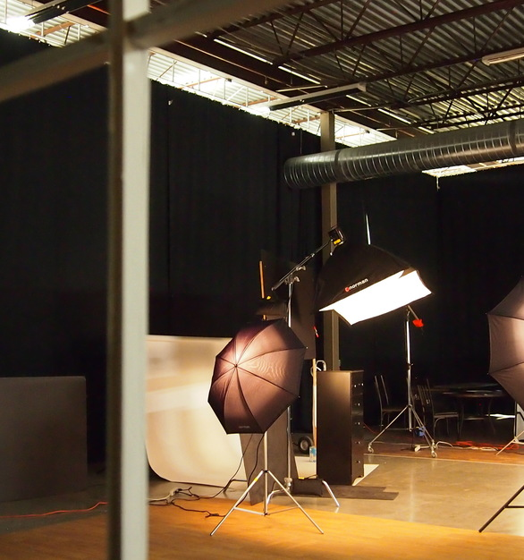 Seen here is a photo studio using blackout curtains provided by BlackoutCurtains.com.