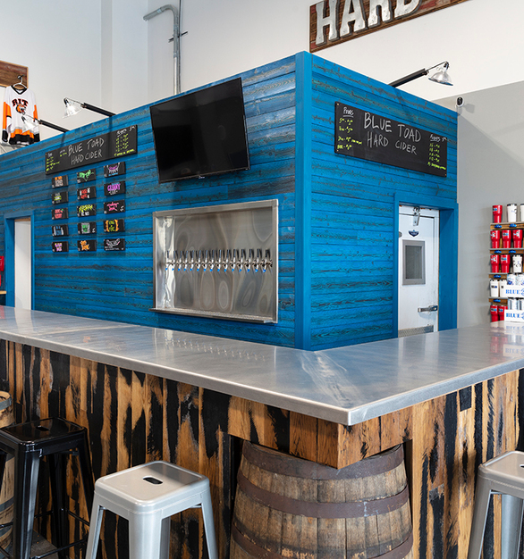 Blue Toad Cidery in Rochester, NY | Pioneer Millworks -- Shou Sugi Ban in Larch Cobalt