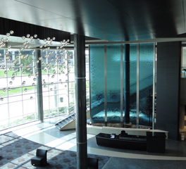 Bluworld of Water Stacked Horizontal Multi Panel Water Wall Office Building Lobby Design