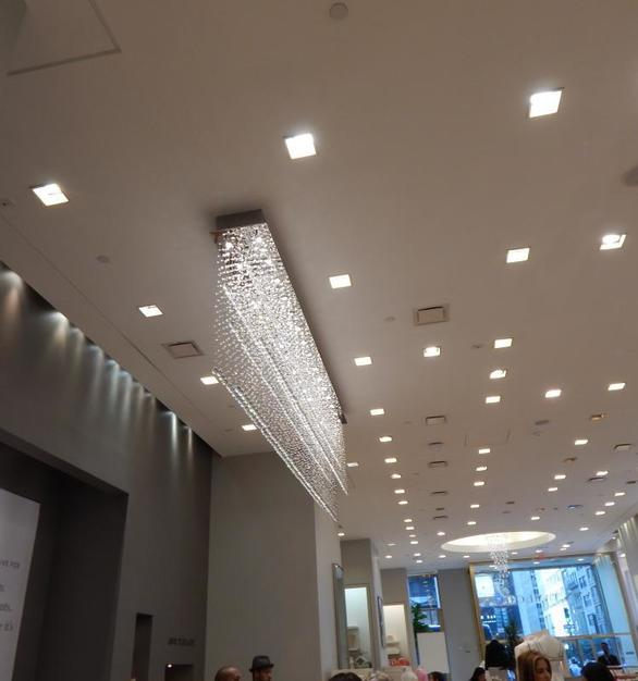 Bock Lighting is known for their custom creations. Seen here is a custom chandelier fixture for a retail store.
