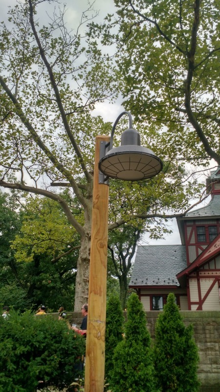 Bock Lighting's self-ballasted dome light comes with a cage, seen here at the Cleveland Metroparks Zoo or it can come completely open.