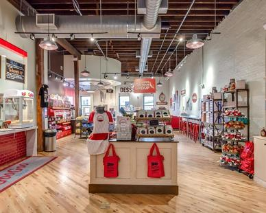 Bock Lighting provided their Galvanized Step Neck Dome lighting in Brilliante to complete this gorgeous shop. 
