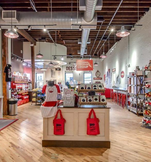 Bock Lighting provided their Galvanized Step Neck Dome lighting in Brilliante to complete this gorgeous shop.   Photo Credit: Goo Goo Shophttps://googoo.com/