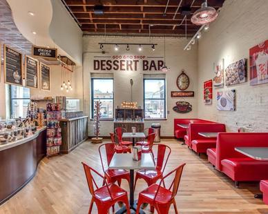 What's a dessert shop without some flair? Seen here is Bock Lighting's Galvanized Step Neck Dome Brilliante light fixtures. 