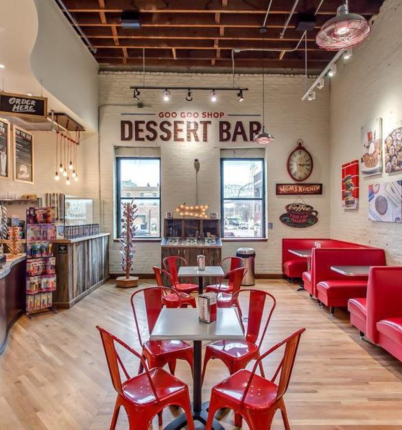 What's a dessert shop without some flair? Seen here is Bock Lighting's Galvanized Step Neck Dome Brilliante light fixtures.   Photo Credit: Goo Goo Shophttps://googoo.com/