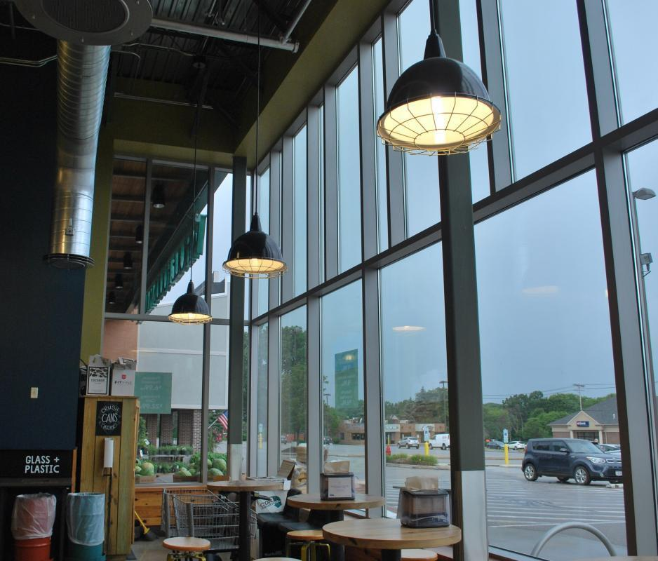 Bock Lighting used their Brilliante and Downlight Reflector light fixtures for this Whole Foods location.