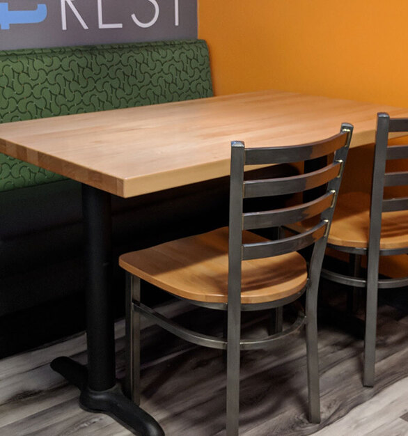 Selecting the right table top for your restaurant is not only crucial for your restaurant design,  but also has a big impact on function and flow. Whether it be vinyl edge, wood edge, or other communal table options -- Plymold has plenty of options.  Plymold creates metal frame and wood seating for commercial needs. Our industrial seating is perfect for restaurants, bars, night clubs, corporate break rooms, convenience stores and more.