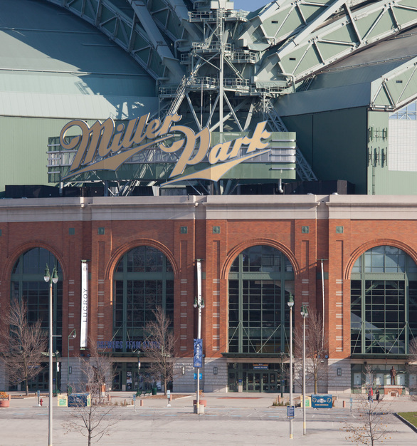 Along with the brick exterior facade by Belden Brick, the retractable roof is featured in this photo of American Family Field, home of the Milwaukee Brewers baseball team.