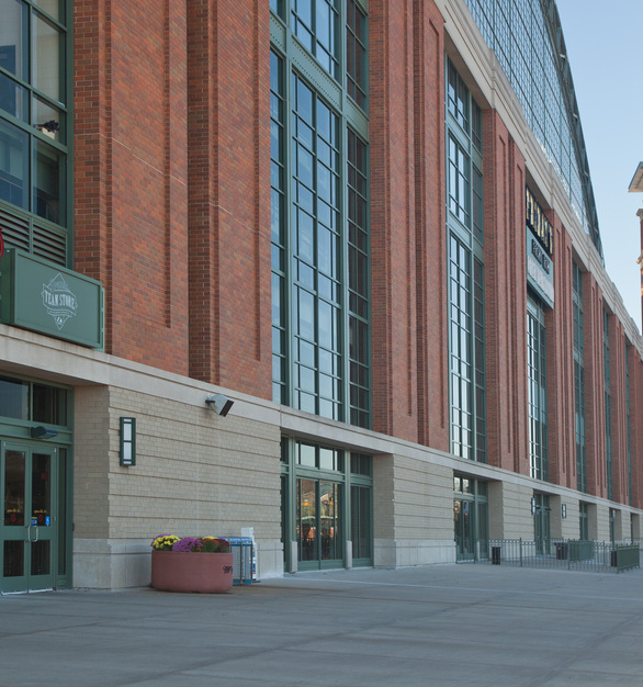 An additional entrance for American Family Field (previously Miller Park) showcases the uniform, sound-proof bricks manufactured by Belden Brick.