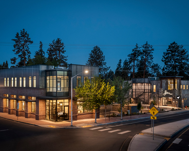 The new two unique buildings at 69 Newport Ave, next to Bend Brewing Company, is positioned next to the river.  The ground levels are dedicated restaurant spaces, and the upstairs offer upscale office areas.  American Heritage: Weathered Grey Photos by Chris Murray