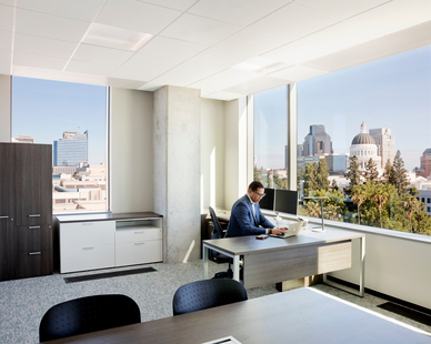 Office in the California Department of General Services with Underfloor Air Distribution.