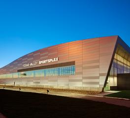 Cedar Valley Sportsplex exterior facade and lighting
