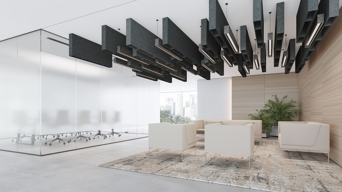 The Fuse Baffle Ceiling System provides sound absorption and blocking to any space. The acoustic panels are easy to install and are available in custom sizes and colors.