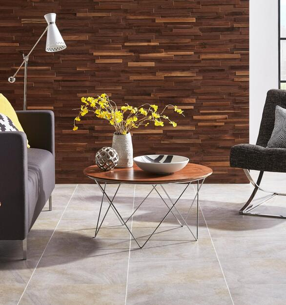 The Dimensions Black Walnut Hardwood Wall Plank Panel and Lummus Beach Ceramic Tile complete this work lounge area.