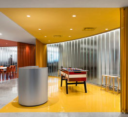 Channel glass Facade Office Lounge Area