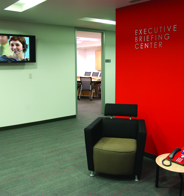The Executive Briefing Center at the Avaya Office in Mexico is the perfect place to affix a television for the opportunity to share information and prep anyone waiting.