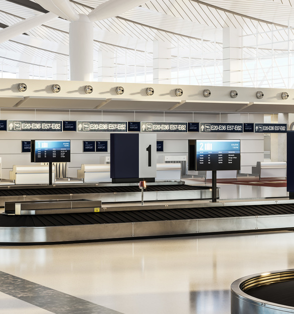 With a high traffic area such as an airport, messaging is primarily done via a screen. Chief provided their mounting products for this baggage claim area.