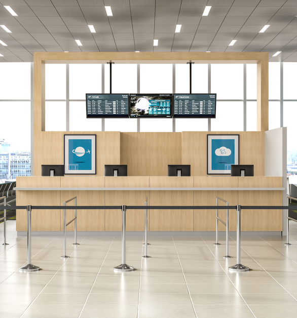 Airport gate desk showcasing Chief's ceiling mounted flight information displays.