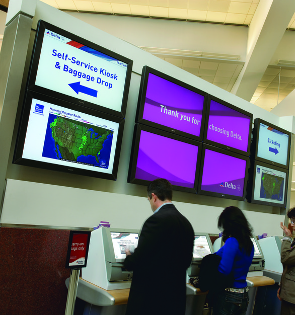 In an airport terminal, most communication is done via screens. Chief provided their mounting products for the Delta terminal in Atlanta, Georgia.