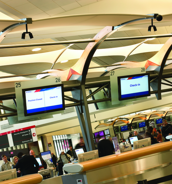 Digital signage can be found throughout the Delta terminal at the Atlanta, Georgia airport. Cheif provided their ProAV products.