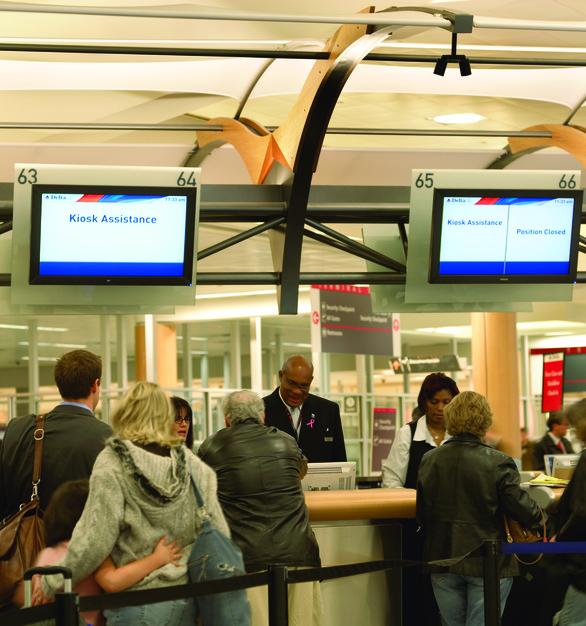 Flat-panel, digital signage provided by Chief shown here at the Delta terminal at the Atlanta, Georgia airport.
