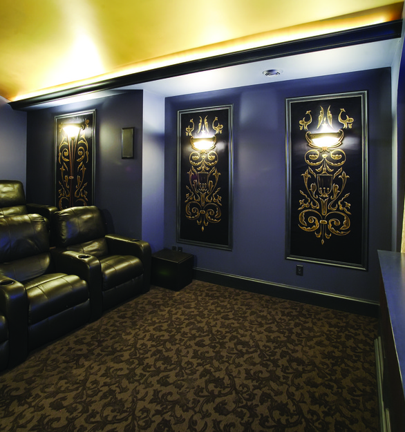 Chief projectors and mounts can be used in any size room and space. Seen here is a Chief projector within a small theater space.