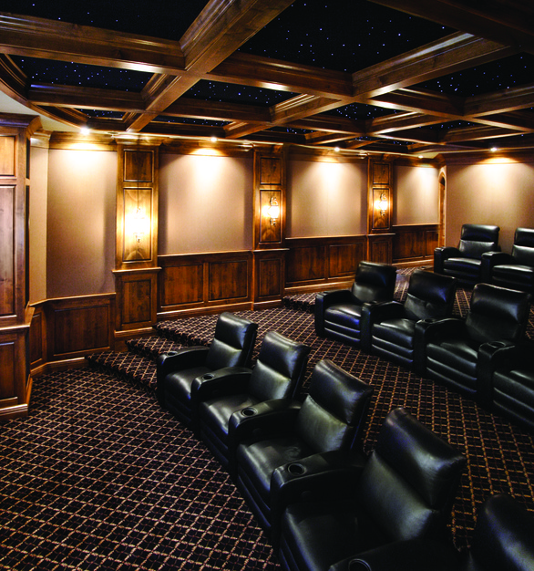 Multi-level small theater showcasing Chief projector and projector mount. Completely custom and reliable.