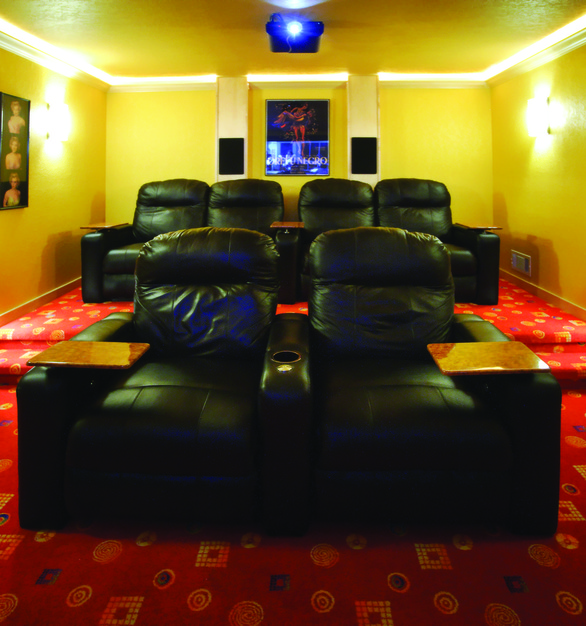 Chief projector products are shown here in this small, custom theater.