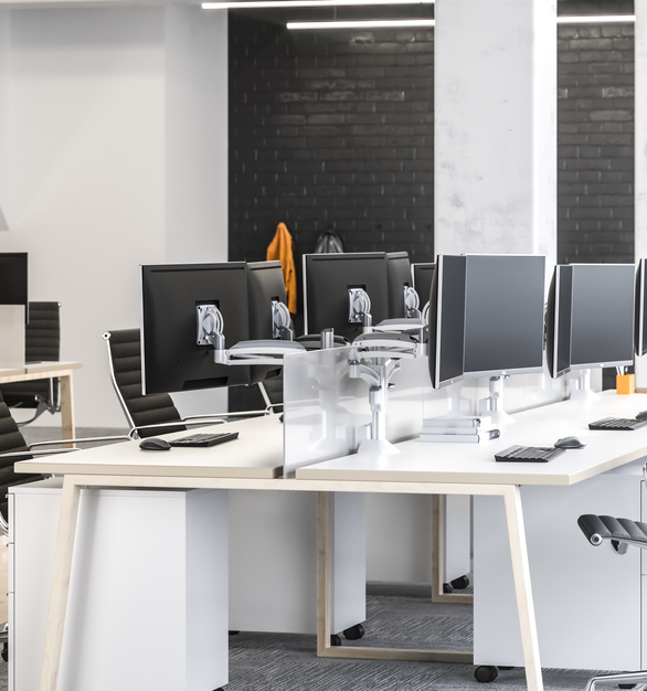 This open office floor plan needed to have a wire-free and clean appearance, Chief's AV workstation products were just the perfect product to achieve the goal.