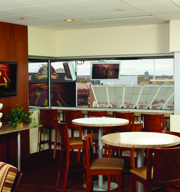 The TCF Stadium Club Suites give you the luxury of watching a game from indoors. The monitors are mounted from the ceiling and are able to have custom heights.