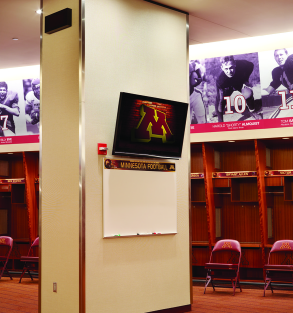 Up close view of monitors affixed to the pillars within the player locker room. Chief provided the mounts which can be used in any space and with any size monitor.