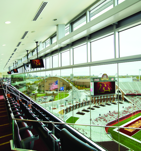 With the suites at TCF Bank Stadium, screens are a must but cannot block the view. Chief provided mounts for the monitors to be hung from the ceiling.