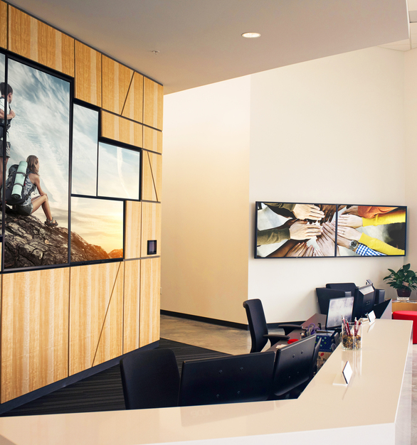 This office lobby showcases Chief's mounting products which are perfect when mounting technology.