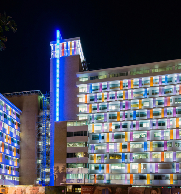 The Children's Hospital of San Antonio features color-fritted 504 Rough Cast channel glass, installed in our customized, vertically-unitized SF-60S frames.