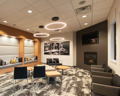 Lenae Designs created this waiting area with the different types of seating, fireplace and unique circular lighting to make this a comfy waiting area for the clients at Karmazin Dental Office.