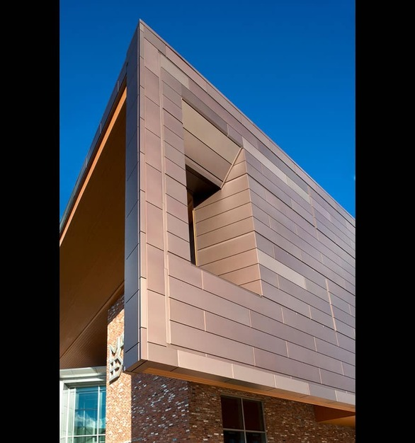 Dri-Design's Anodized Cooper cladding was used on the exterior of the Mississippi Arts building.