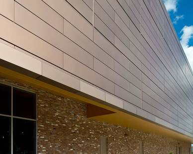 Copper Anodized Panels are the exterior of the Mississippi Arts building.  It gives k