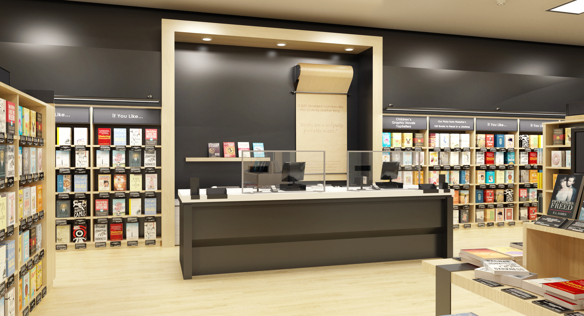 Claridge Products Checkout Counter Sneeze Guard Bookstore