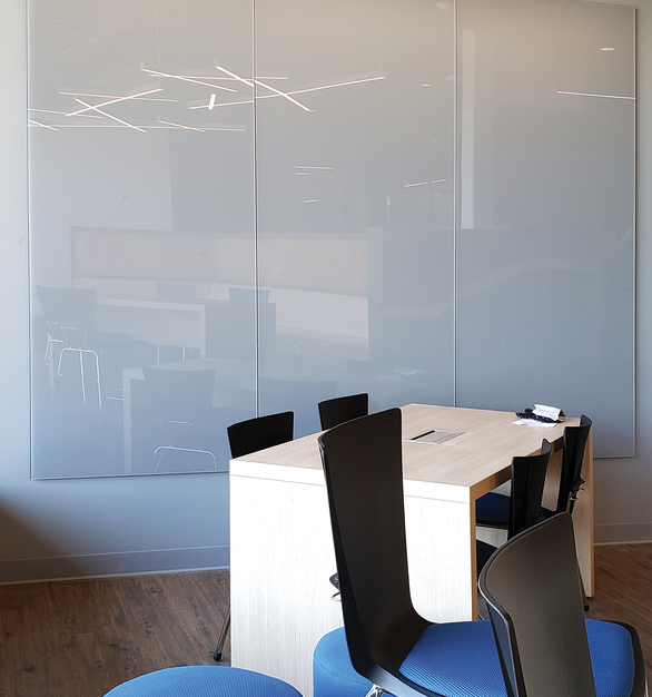 "Claridge Glass dry erase whiteboards are stylish, functional and easy to maintain. Made from 1/4"" low-iron, ultra-clear glass for exceptional clarity, Claridge Glass is available in 10 standard colors and over 180 optional powder coat colors, with three different mounting options. Standard sizes range from 2' x 3' up to 5' x 10'"
