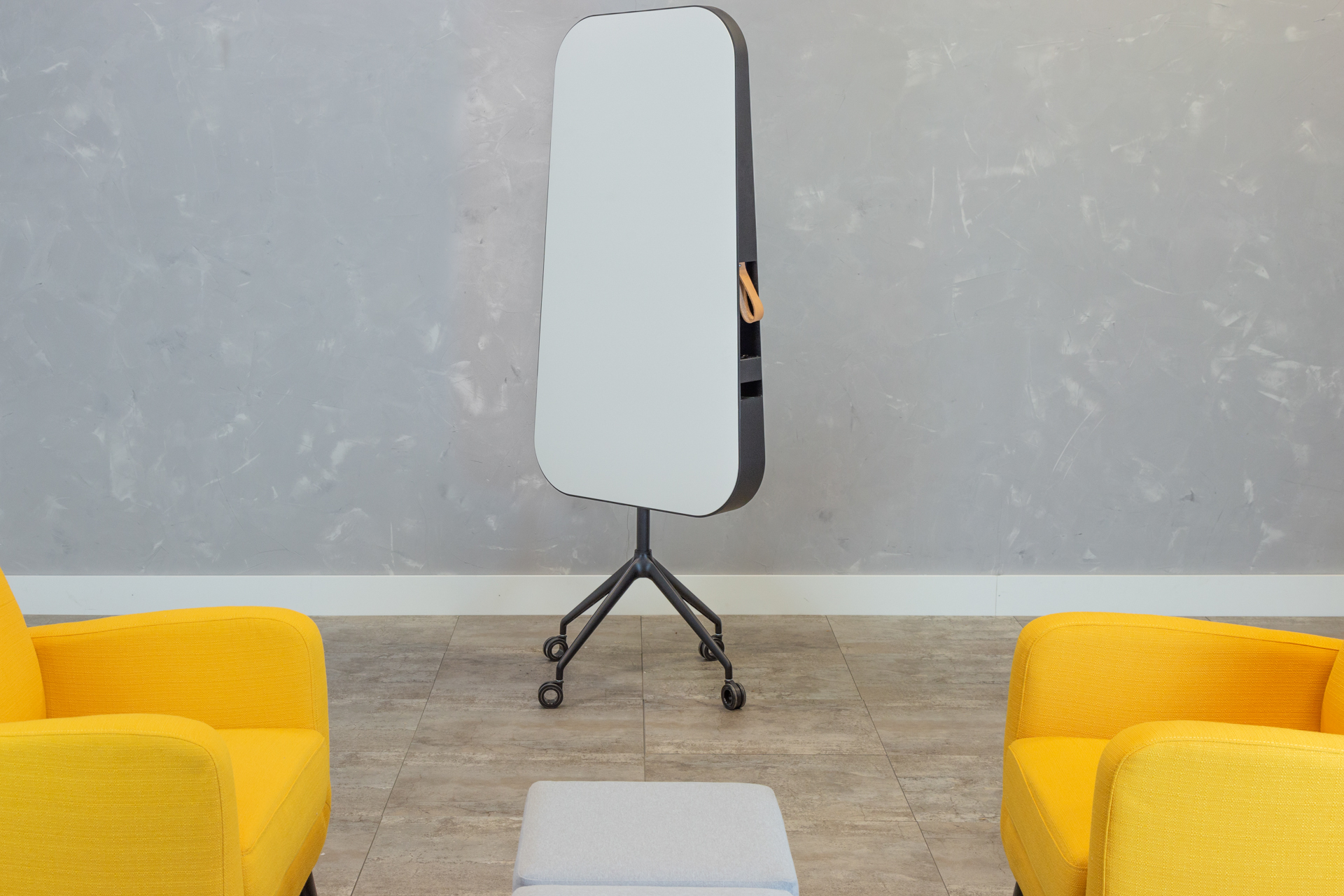 Pitch simply performs. Take it for a spin in the office and your note taking will never be the same! Drawing its name from the angled writing surface, it feels unique yet easy to jot notes on this mobile whiteboard. Pitch is customizable by surface, frame, caster and size. Got another idea for customization? Try us!