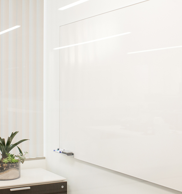 """The CONCEPT Dry Erase Board features a narrow 5/16"""" wide aluminum trim profile with an eased edge.  The frame's 1/8"""" thick contour adds depth to the trim perimeter. The writing surface is White LCS3 Porcelain® enamel steel — a Lifetime Ceramic Surface®."""