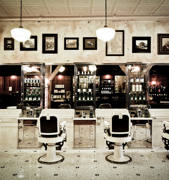 Vintage pictures adorn the walls of this vintage-inspired salon--complete with Tin Ceiling Tiles.