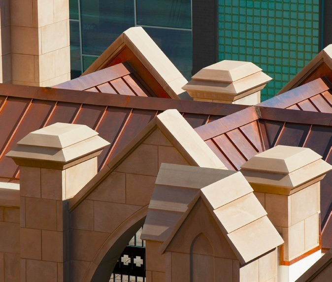 Hand-crafted copper roof on the First Presbyterian Church of Tulsa, OK