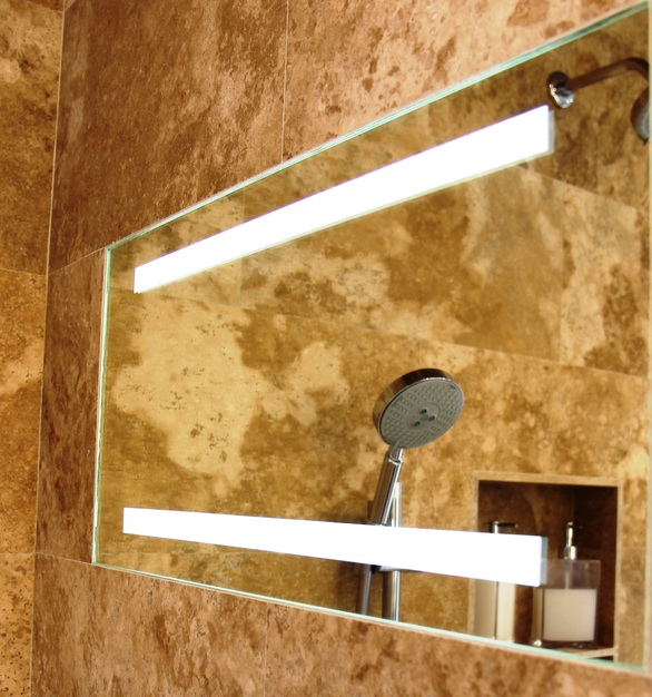 ShowerLite by ClearMirror is a fog free and LED lighted mirror for shaving in the shower.  The 12x24 ShowerLite ClearMirror can be installed horizontally as well. Fit's great in niches.