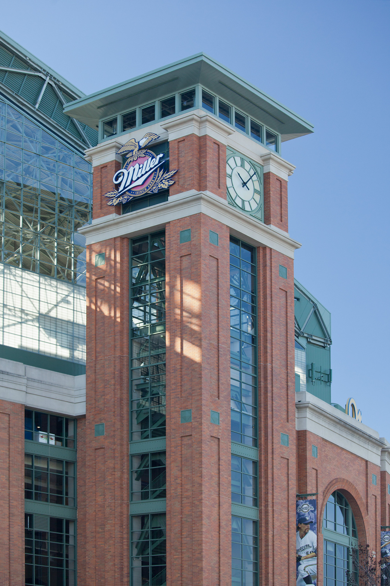 American Family Field (formerly Miller Park), home of the Milwaukee Brewers, features a unique large clock tower and multi-colored bricks from Belden Brick.
