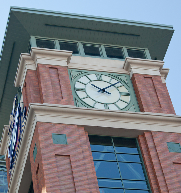 The clock tower at the baseball field towers over the rest of the building and also features the Miller Park graphic sign. Belden Brick's multi-color neutral toned bricks complete the tower.