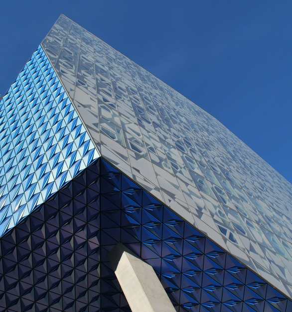 In eye-catching Prismatic Blue, Valflon was the perfect architectural coating choice for the edgy entrance to Ryerson University's Student Learning Center in historic Toronto.  Photography credits: Marcus Mitanis
