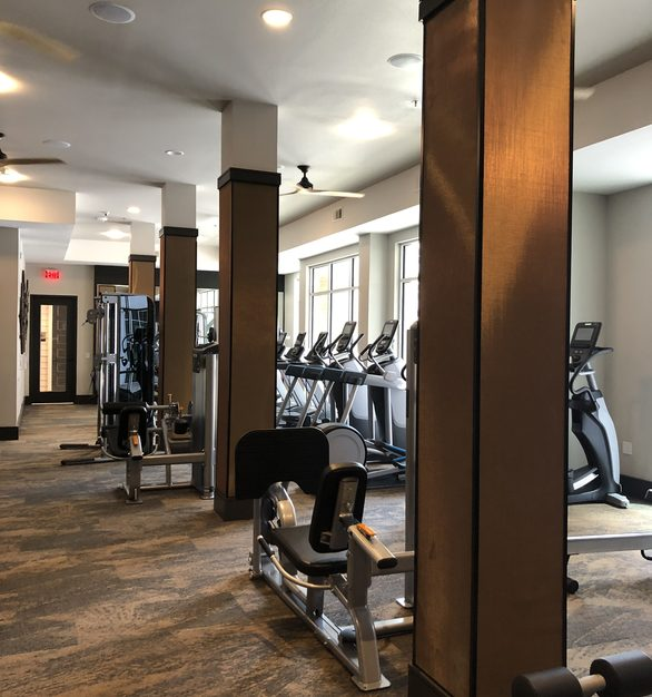 Utilize premium finishes and materials in your weight room. Metal mesh by Materials Inc. is versatile in use and creates a unique looking interior.